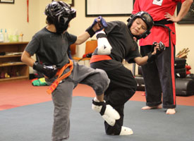students sparring - pro kenpo martial arts school